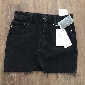 Zara black jean mini skirt